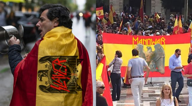 """Alerta bulo: No, no había banderas de Slayer y Manowar en las protestas, eran banderas franquistas """"JAJAJ PERO SI ESO ESTÁ HECHO CON EL PAINT"""", SEÑALARON VARIOS TUITEROS"""